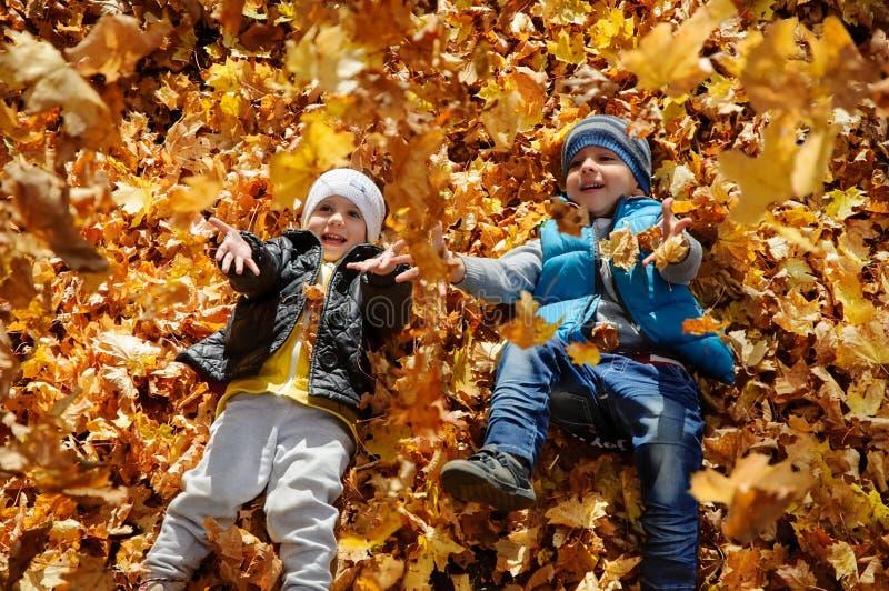愉快的孩子在秋天停放说谎在叶子 免版税库存图片