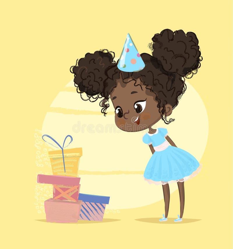 愉快的孩子女孩惊奇生日礼物箱子 看对各种各样的礼物的逗人喜爱的儿童字符 童年圣诞节 向量例证