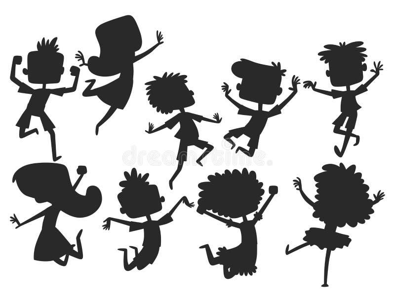 愉快的孩子用不同的跳快乐的儿童剪影小组和滑稽的动画片的位置大传染媒介哄骗快乐 向量例证