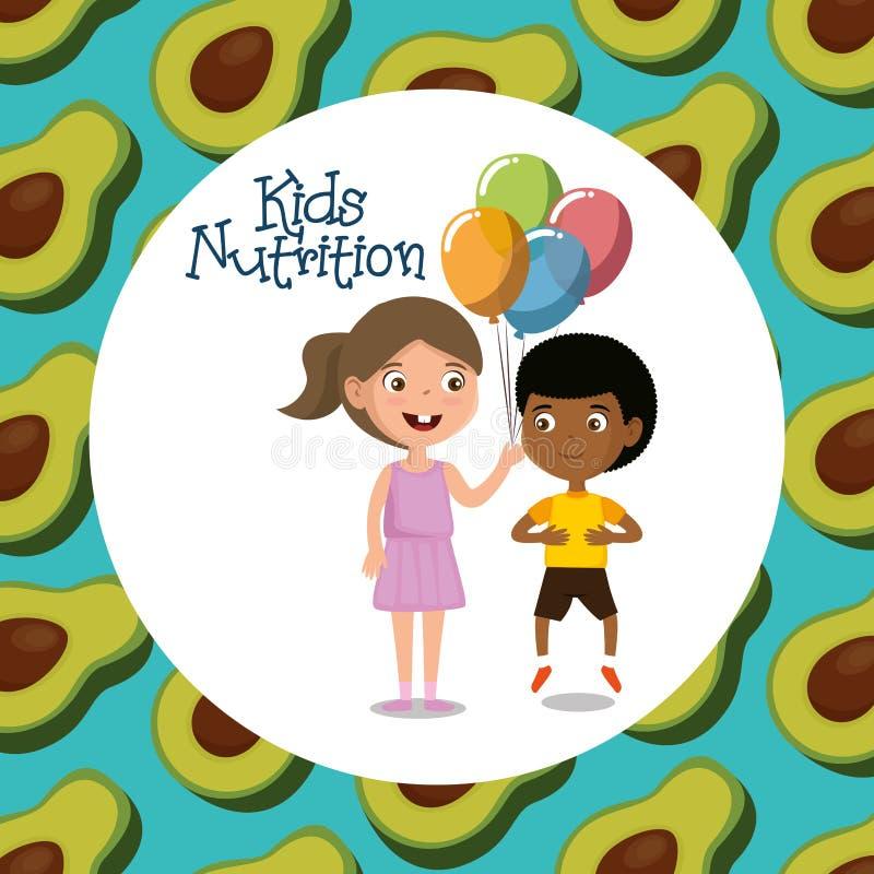愉快的孩子用营养食物 向量例证