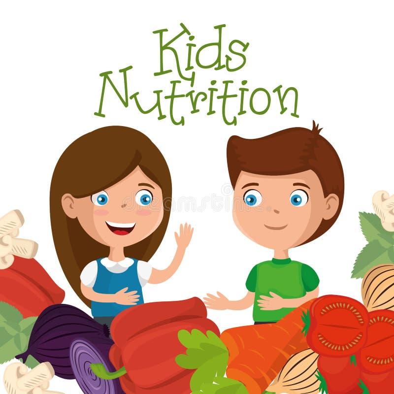 愉快的孩子用营养食物 皇族释放例证