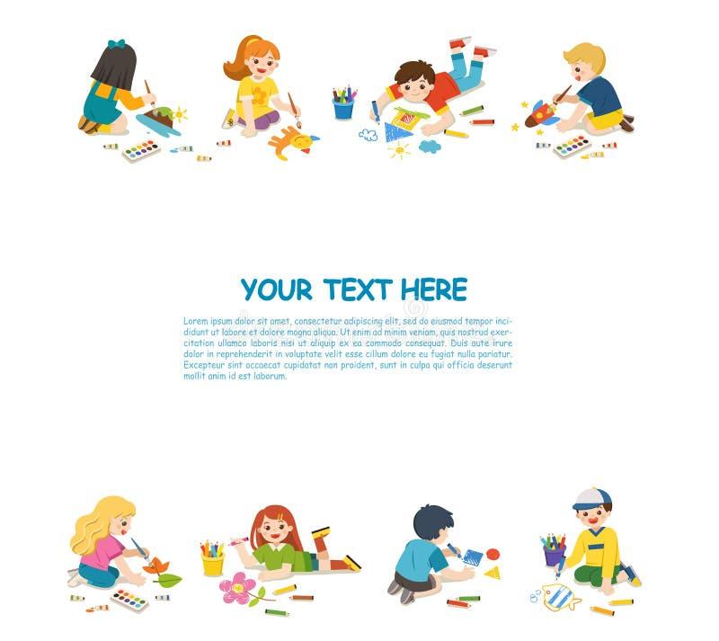 愉快的孩子画图片和油漆在地板上 库存例证