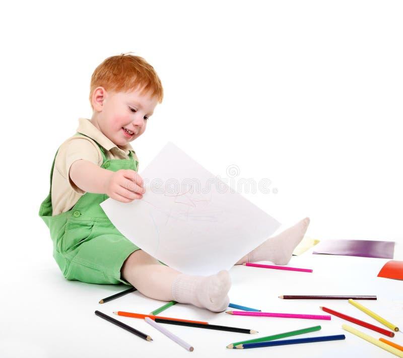 愉快的孩子铅笔 库存图片
