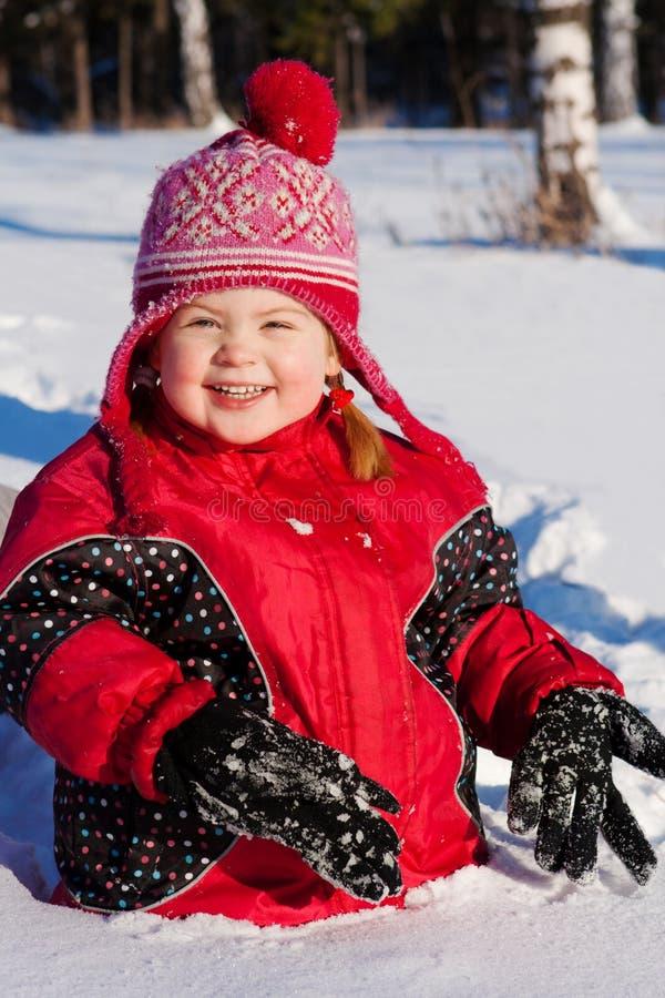 愉快的孩子雪 免版税图库摄影