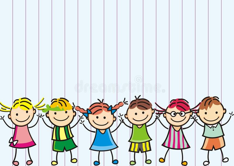 愉快的孩子,横幅,传染媒介象,排行了背景 向量例证