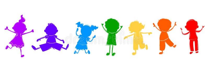 愉快的孩子 五颜六色的孩子传染媒介例证 皇族释放例证
