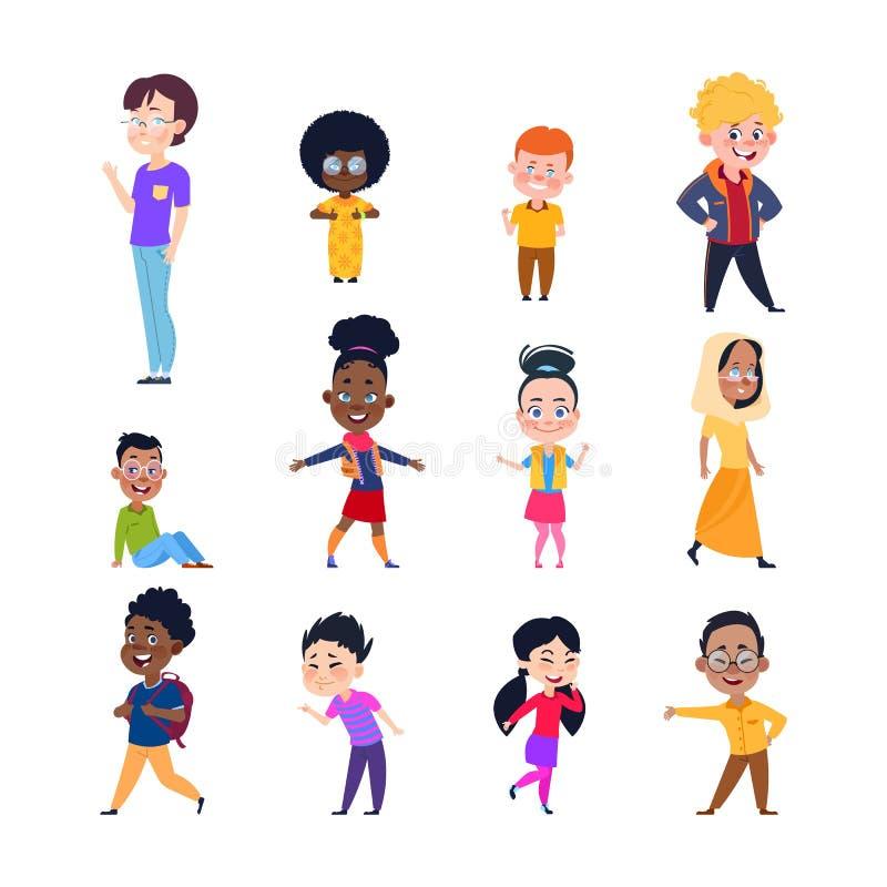 愉快的孩子 动画片欧洲,亚裔和非洲孩子 男孩和女孩便衣的 被隔绝的传染媒介字符 皇族释放例证