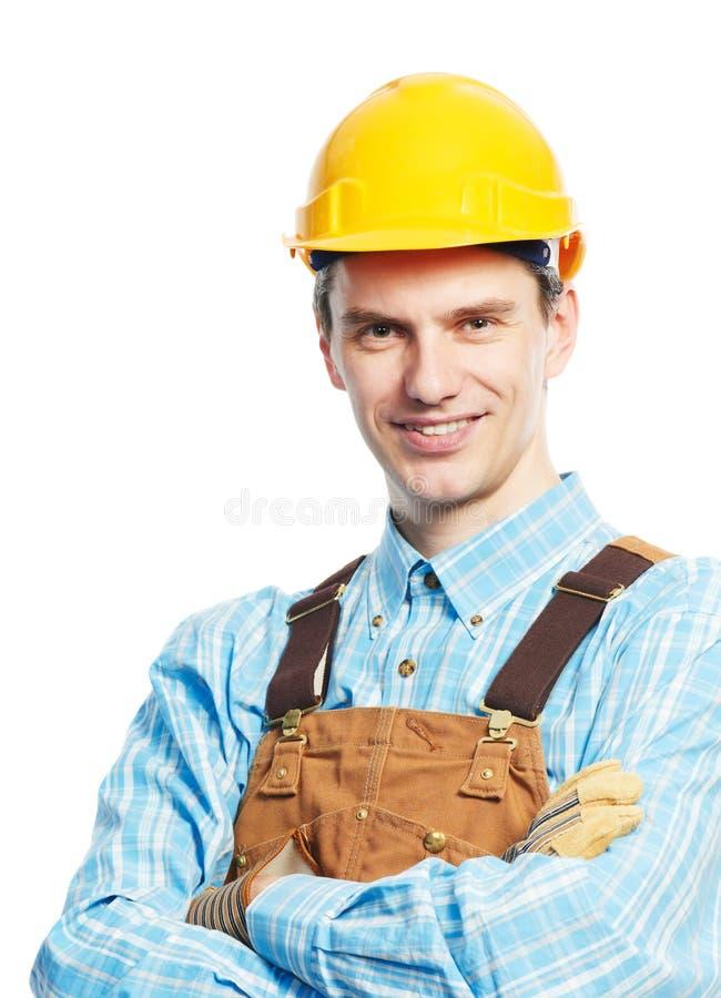 愉快的安全帽整体纵向工作者 免版税图库摄影