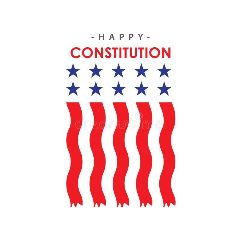 愉快的宪法天传染媒介模板设计例证 库存例证