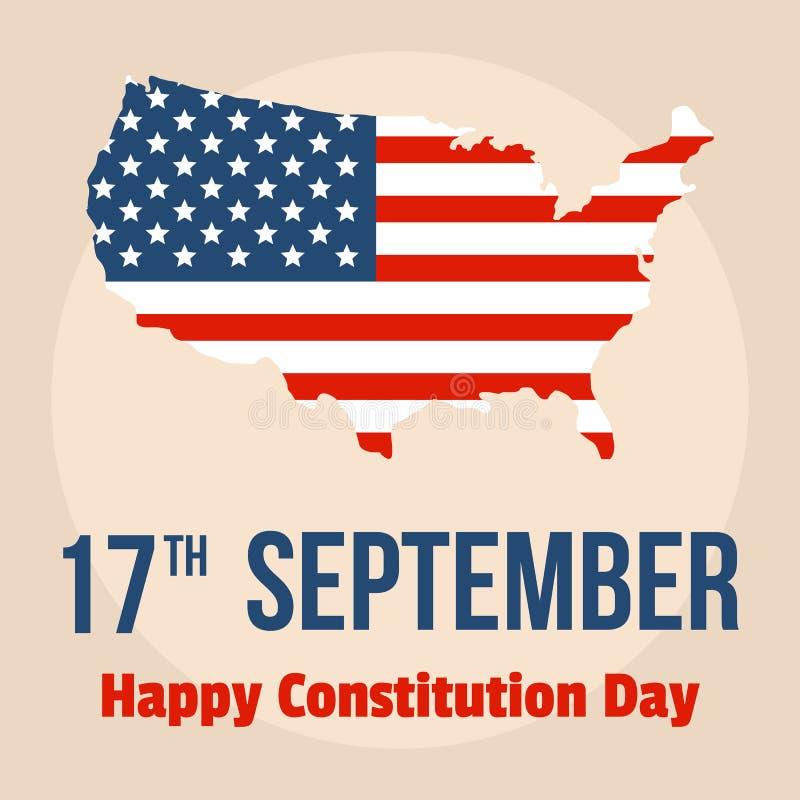 愉快的宪法美国天背景,平的样式 向量例证