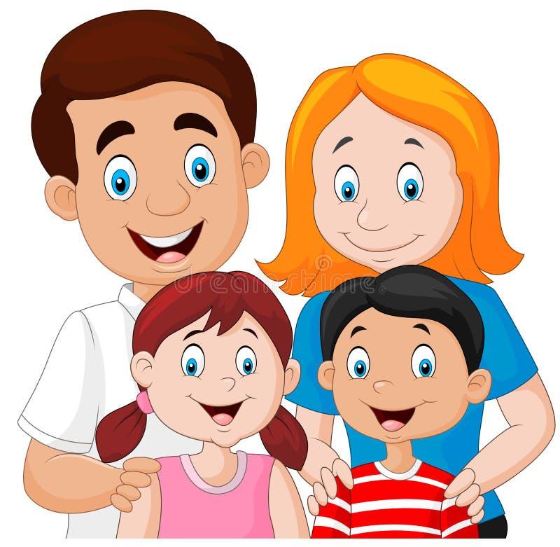 愉快的家庭一起在白色背景 库存例证