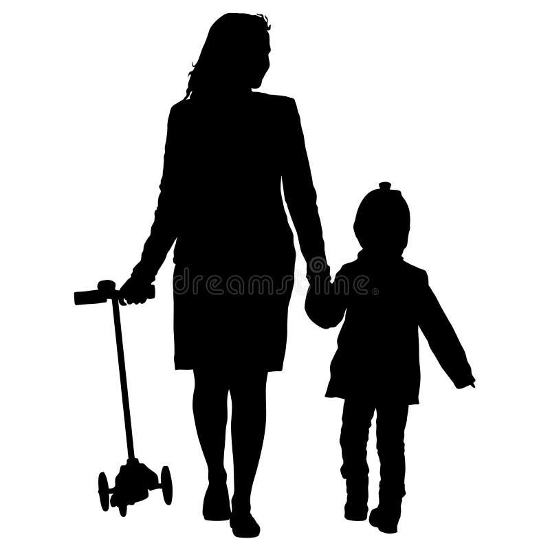 愉快的家庭剪影在白色背景的 也corel凹道例证向量. 女孩, 妈妈.