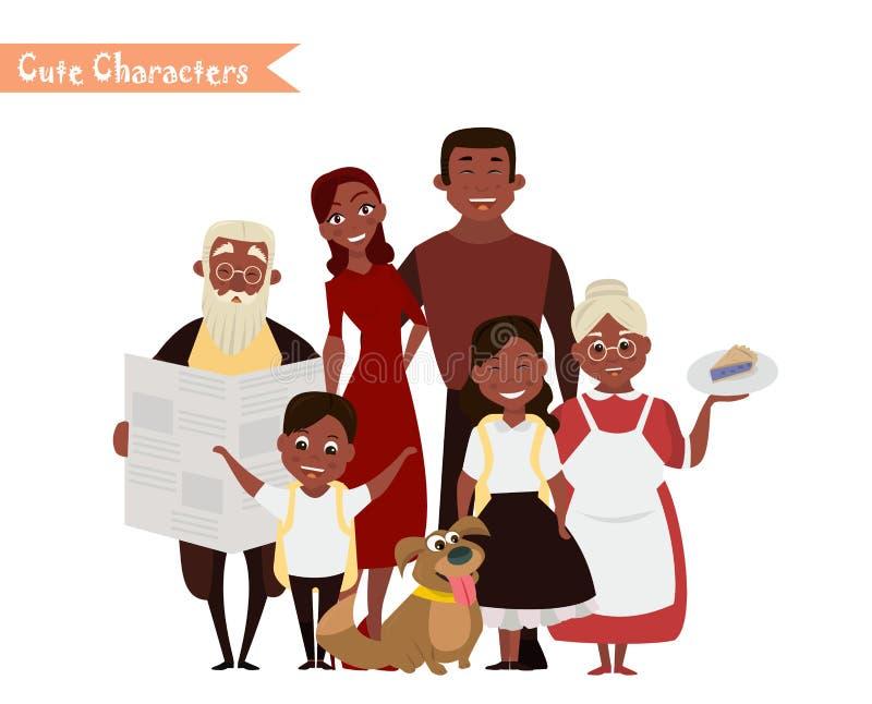 愉快的家庭在白色背景中 皇族释放例证