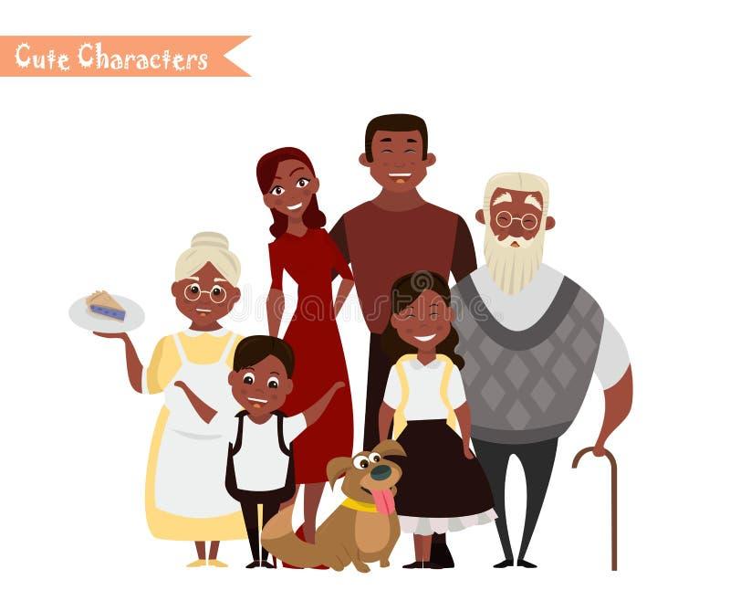 愉快的家庭在白色背景中 库存例证