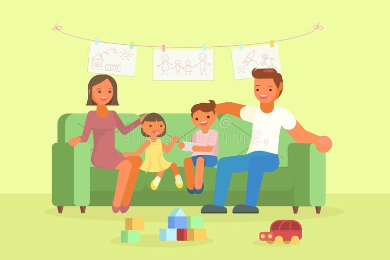 愉快的家庭坐沙发传染媒介例证 向量例证
