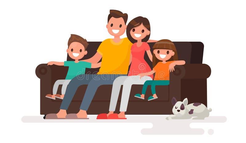 愉快的家庭坐沙发 父亲、母亲、儿子和daught 库存例证
