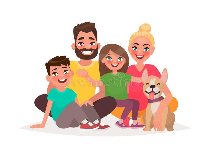 愉快的家庭坐白色背景 父亲,母亲儿子, 皇族释放例证