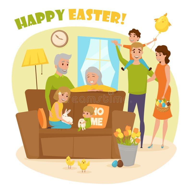 愉快的家庭复活节构成 向量例证