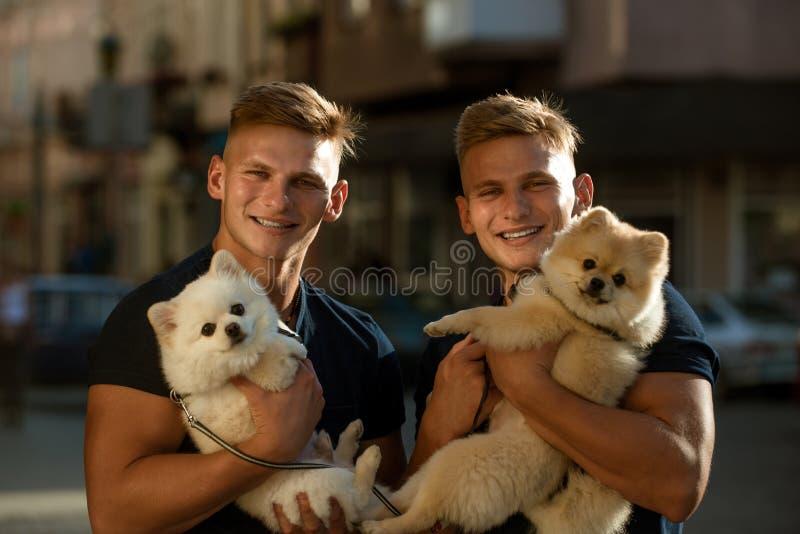 愉快的家庭天 波美丝毛狗狗爱他们的家庭公司  孪生人拿着家谱狗 有狗宠物的肌肉人 免版税库存图片
