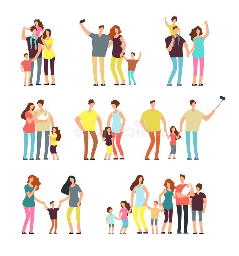 愉快的家庭小组 成人做父母使用与孩子传染媒介动画片人的夫妇被隔绝 库存例证