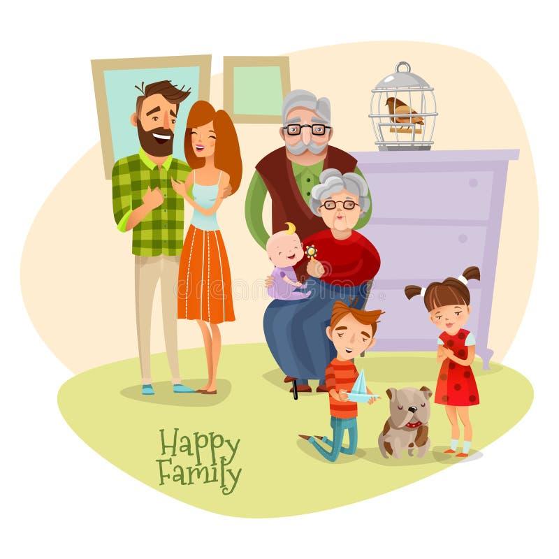 愉快的家庭平的模板 向量例证