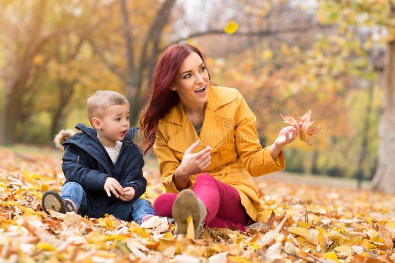 愉快的家庭演奏和获得乐趣在秋天公园 免版税图库摄影