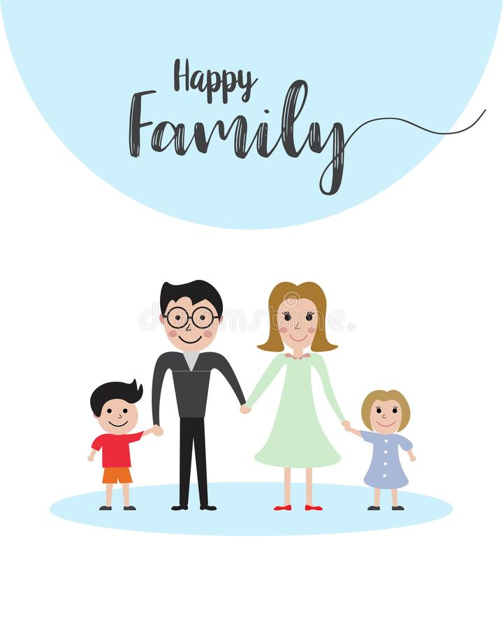 愉快的家庭画象、父亲、母亲、男孩和女孩以幸福一起 免版税库存图片