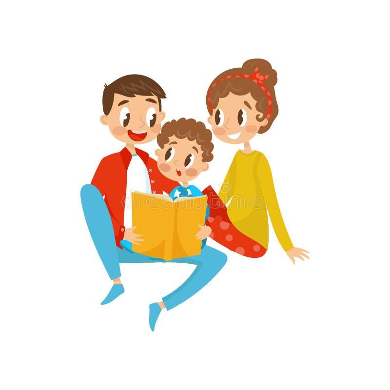 愉快的家庭阅读书一起导航在白色背景的例证 向量例证
