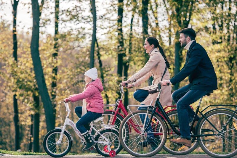 愉快的家庭骑马自行车在公园 库存照片