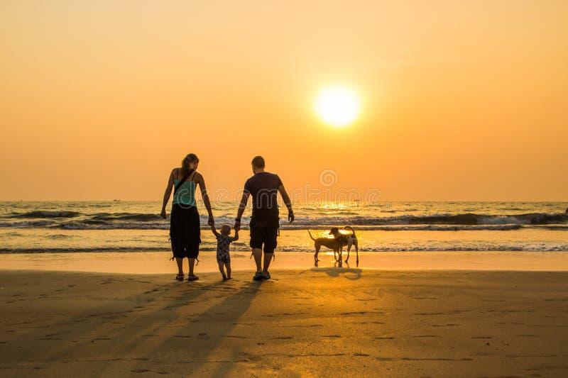 愉快的家庭-父亲、母亲、小儿子举行手和狗在s 库存图片