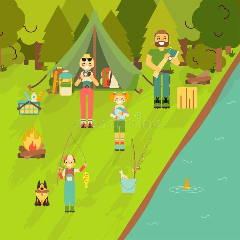 愉快的家庭去野营和钓鱼 在平的样式设计的传染媒介例证 动画片人字符和游人 库存例证