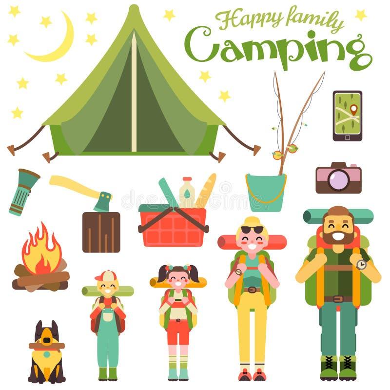 愉快的家庭去野营 在平的样式设计的传染媒介例证 动画片人字符和旅游对象 帐篷 库存例证