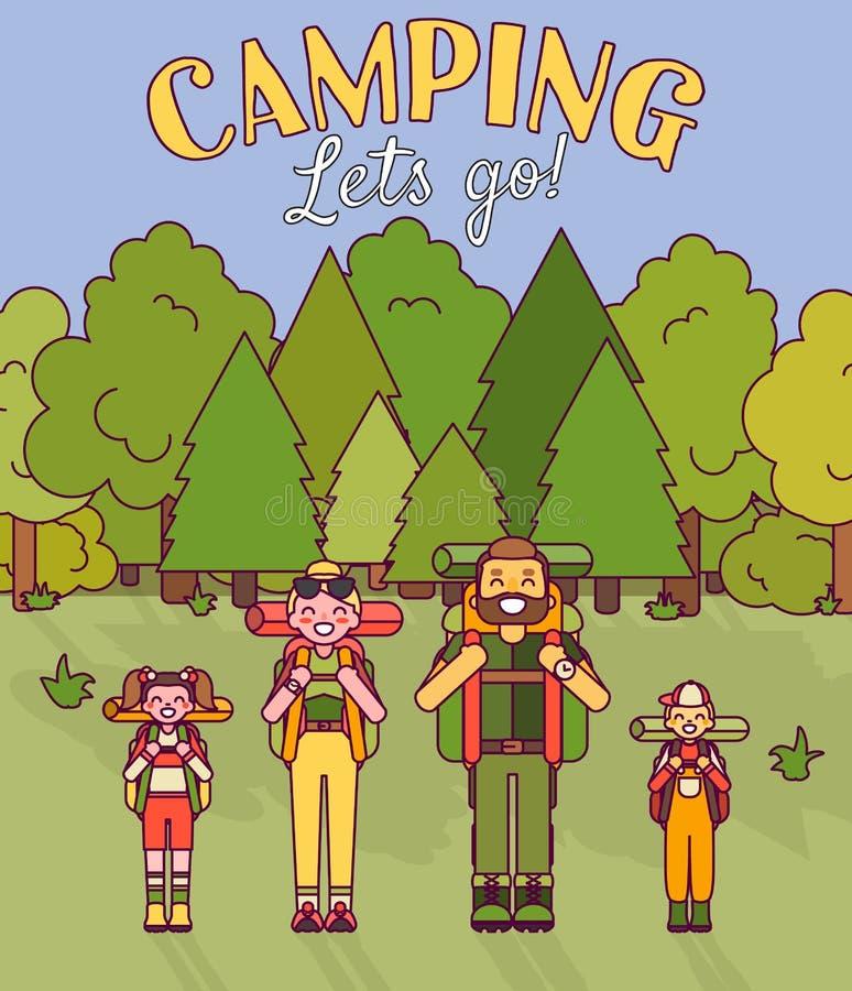 愉快的家庭去野营 在平的样式设计的传染媒介例证 动画片在森林父母和孩子的人字符 向量例证