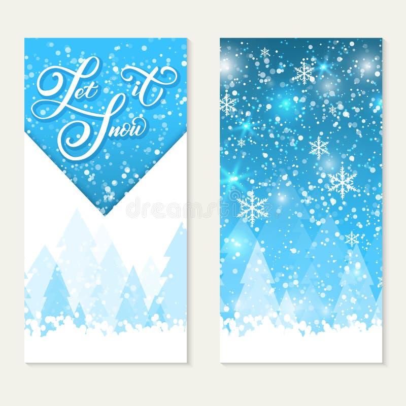 愉快的寒假礼品券 让雪 典雅的手写的书法寒假 容量信件 库存例证