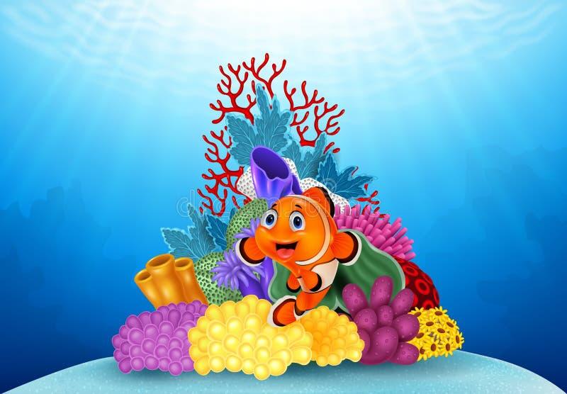 愉快的小丑鱼和美丽的水下的世界与珊瑚 向量例证