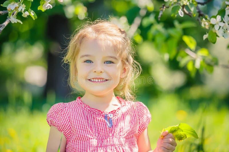 愉快的小女孩在苹果树庭院里 库存图片