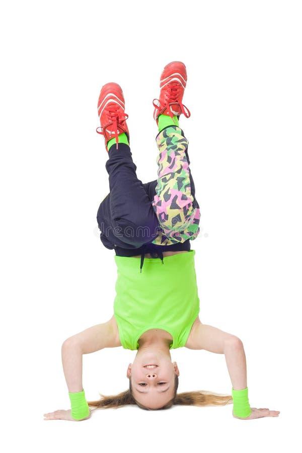 愉快的小女孩跳舞霹雳舞 库存图片