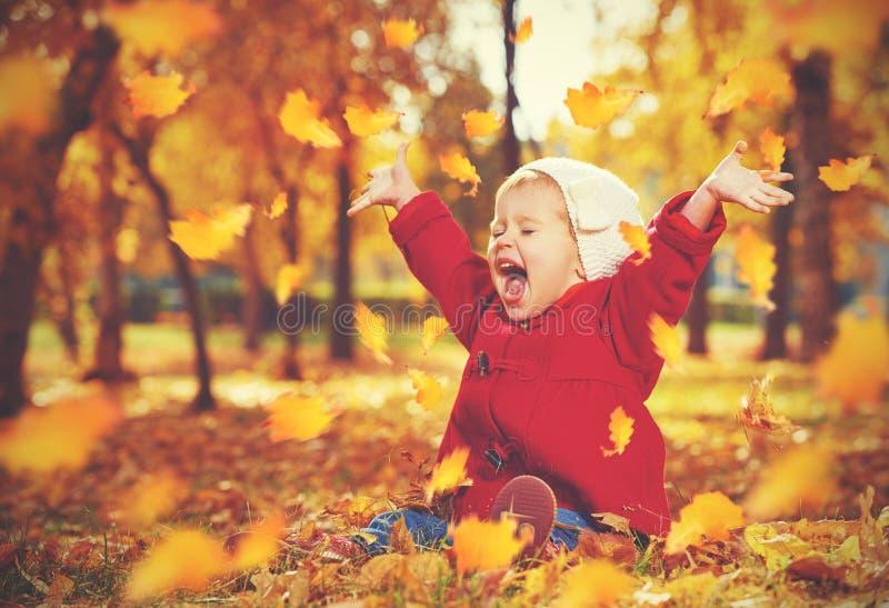 愉快的小孩,笑和使用在秋天的女婴 库存照片