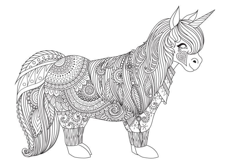 愉快的小的小马Zentangle有灵感的设计成人彩图页的 向量例证