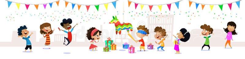愉快的小组动画片孩子获得乐趣在生日宴会 向量例证