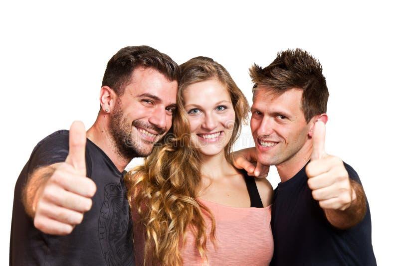 愉快的小组朋友被隔绝在白色 免版税库存照片