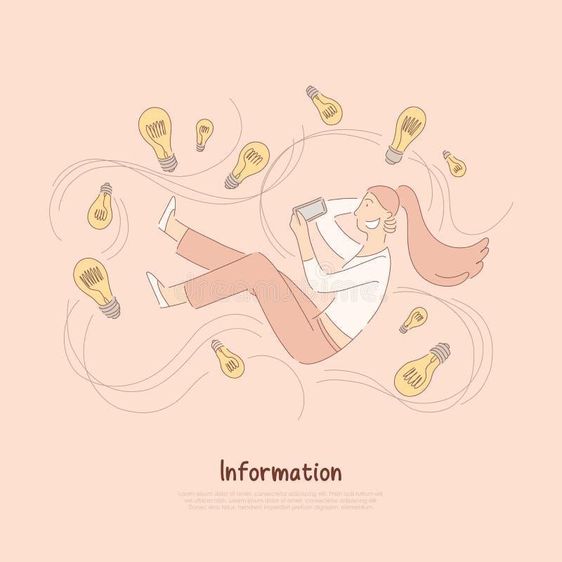愉快的少女藏品智能手机,妇女围拢与电灯泡,突发的灵感隐喻,启发横幅 库存例证