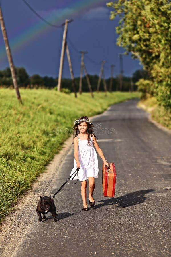 愉快的少女走与手提箱和狗 库存照片