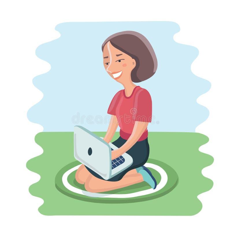 愉快的少妇坐与膝上型计算机的坐垫在膝部 皇族释放例证