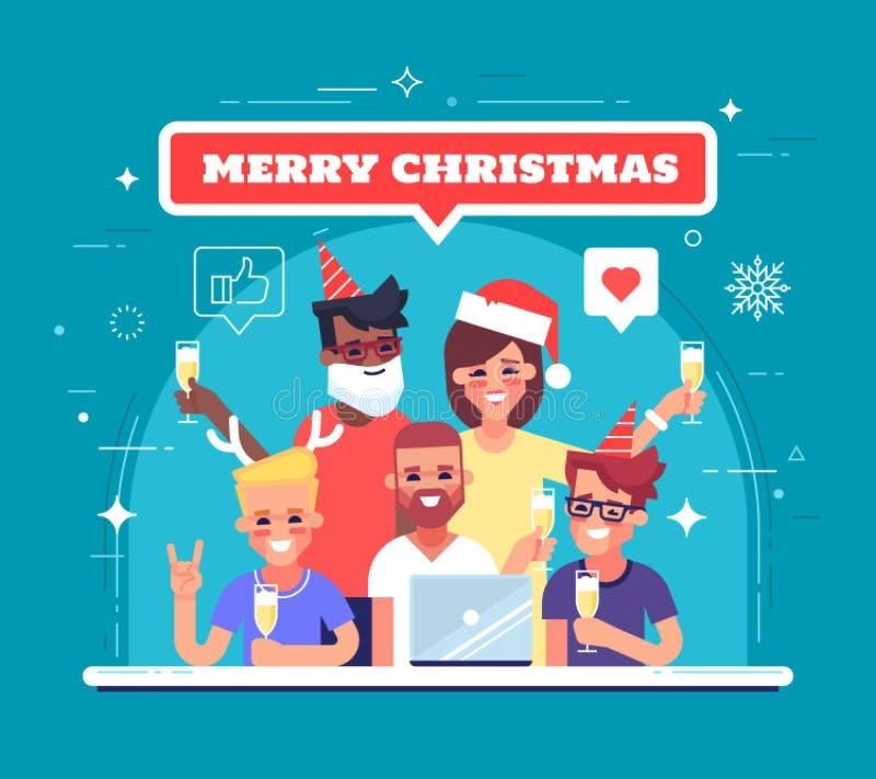 愉快的工作者庆祝圣诞节和新年 Xmas党 贺卡或横幅的例证 向量 向量例证