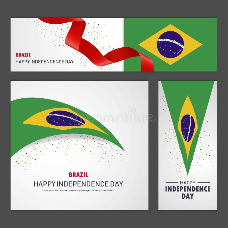 愉快的巴西独立日横幅和背景集合 库存例证