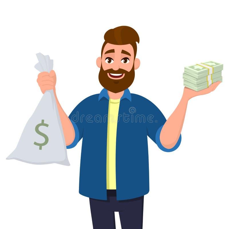 愉快的年轻人是陈列或在手中拿着金钱袋子、现金袋子和束金钱,现金,货币,美金,钞票 库存例证