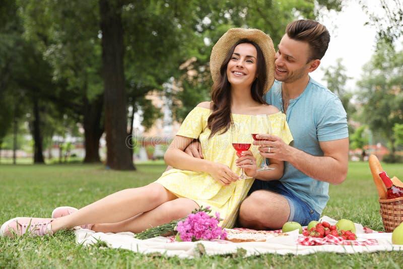 愉快的年轻人有野餐在公园在夏日 免版税库存图片