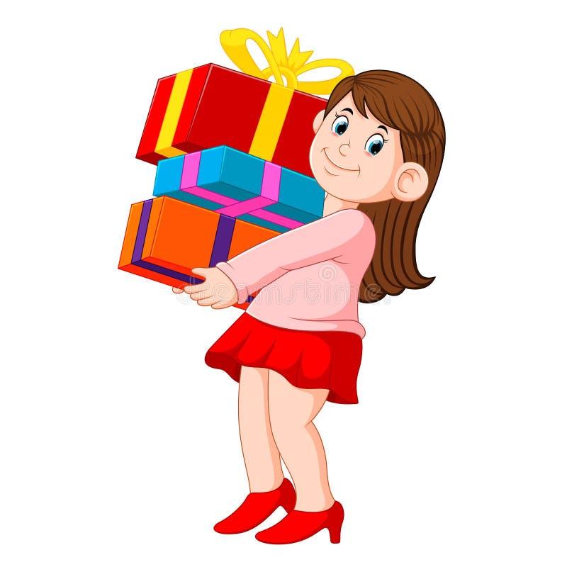 愉快的年轻女人藏品堆礼物 向量例证