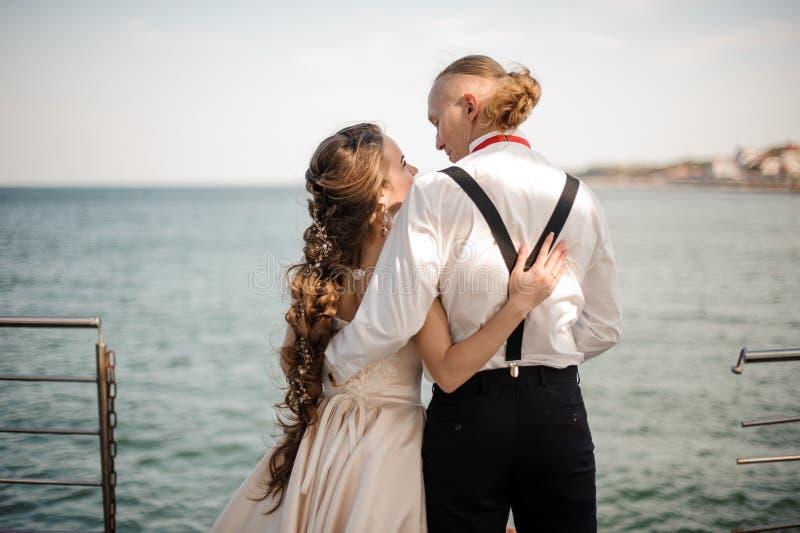 愉快的年轻已婚夫妇身分后面看法在海的背景中 免版税库存照片